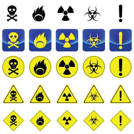 radio active: Warning sign for radio active, bio hazard, flame vector on button and many types of yellow circle, triangles and square sign Illustration