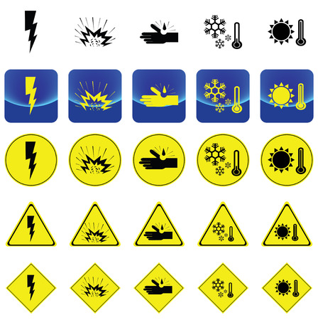 Warning sign for electricity shock, explosive, corrosion, cold, heat vector on button and many types of yellow circle, triangles and square sign