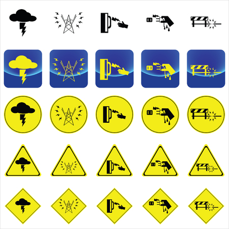 Warning vector sign for electricity shock from thunder, high voltage pole, wet hand, under construction place on button and many yellow signs