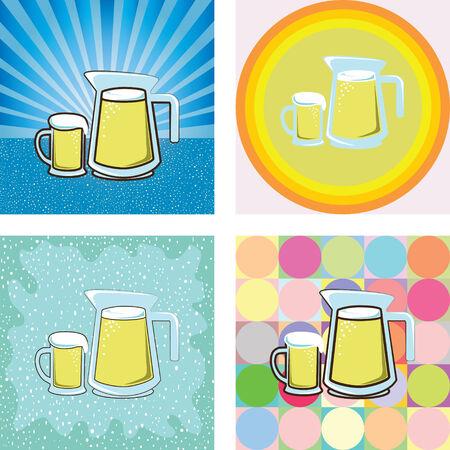 jarra de cerveza: Cerveza en vidrio y jarra con estilo retro vector Vectores