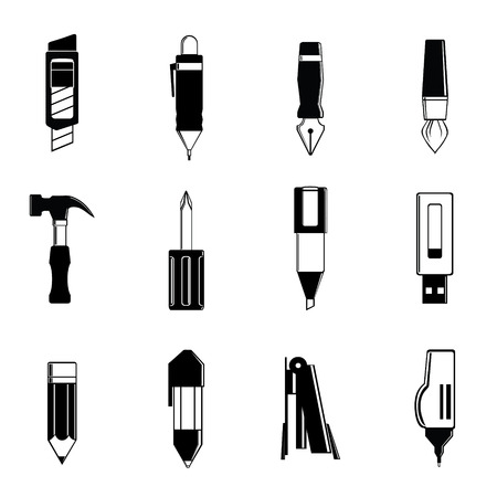 dip: Simple graphic of the stationery vector include pen, pencil, cutter, paint brush, dip pen, hammer, screwdriver, highlight pen, handy drive, stapler and correction pen Illustration