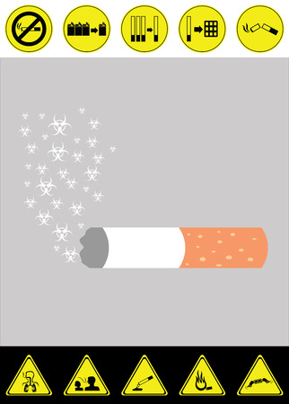 inflame: Harm concept of smoking cigarette vector with graphic of risk from smoking Illustration