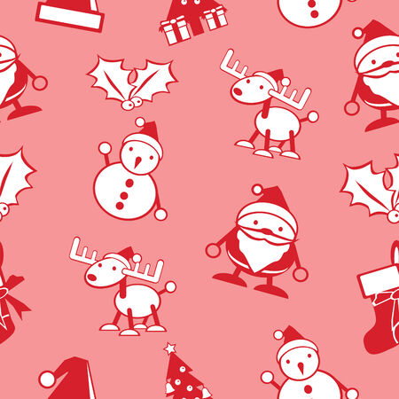 simple Christmas seamless background vector include Santa, snowman, deer  Vector