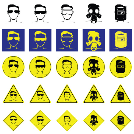 head protection: Warning sign of head for wearing the eyes protection such as sunglasses, lab goggle, gas mask, Welding Helmet Illustration