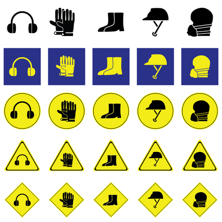 earmuff: Warning sign of using ear, hand, foot, head and face protection tools such as earmuff, glove, boots, Helmet, nose mask