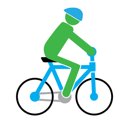 man is cycling in the simple vector format Illustration