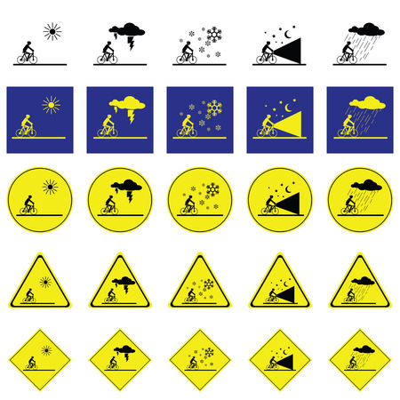 climatic: Warning sign of man cycling on the various climatic conditions such as sunny, thunder, snow, dark and rain