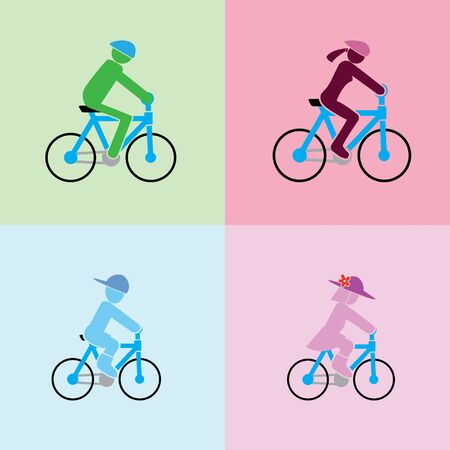 man, woman, boy and girl with cycling action in the simple format