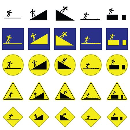 Warning sign of man skating the skateboard on the various ways include slope up and down, rough way and road with deep hole Illustration