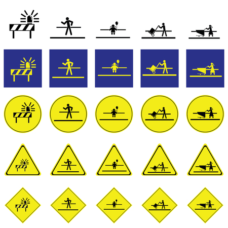Warning sign of people include; man, child, people working, cross the way