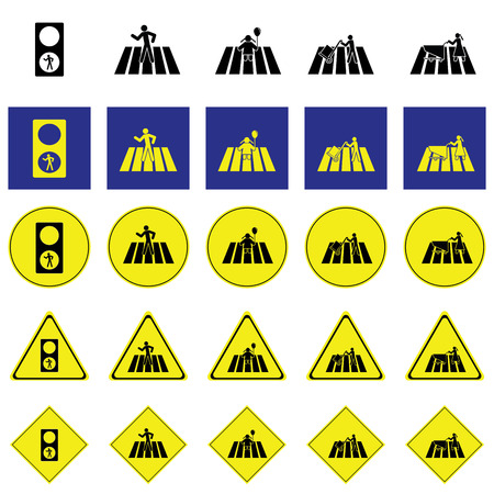 Warning sign of people include; man, child, people working, across the zebra crossing Illustration