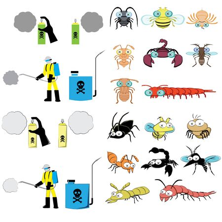 termite: pest control graphic include sprayer, cockroach, fly, spider, ant, scorpion, mosquitoes, termite, centipede