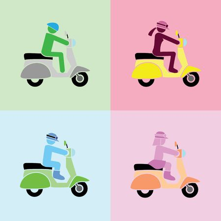 man, woman, boy and girl with riding action on scooters by the simple format