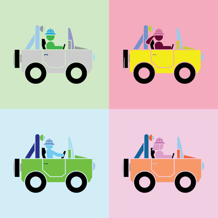 man, woman, boy and girl with driving action in cars by the simple format