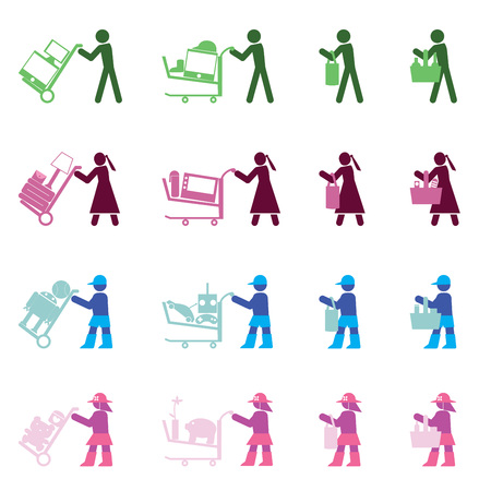 man, woman, boy and girl with various shopping actions by the simple format