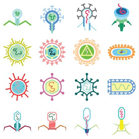 simple virus graphic in many simple forms