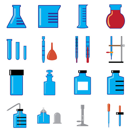 simple of glass wares in chemistry laboratory