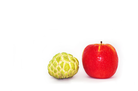 Apple and Sugar apple fruits isolated on white background