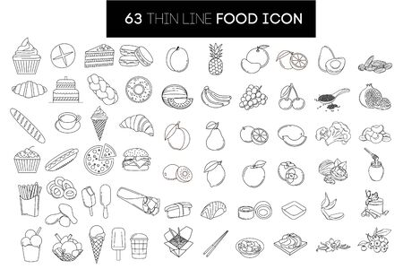 Large set of thin, linear icons. 63 isolated from background element. Images related to baking, sweets, fruits, fast food, ice cream, superfood, sushi, honey, tea,
