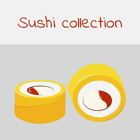 Sushi collection. Amai maki, yellow maki. Multicolored art without a stroke. Vector.