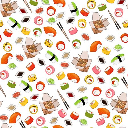 Seamless vector isolated texture of nigiri, sauces, sushi. Bright, beautiful background in a modern flat style. Sushi with avocado and salmon, rolls pink, green, yellow, wasabi, ginger, wok, sticks.