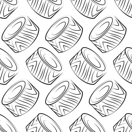Vector seamless pattern with Philadelphia maki rolls, sushi. Beautiful food design elements. Linear texture.