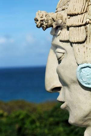 Mayan man statue on Isla Mujeres, Mexico