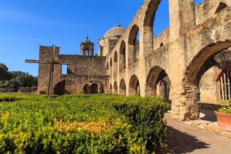 Exploring history on a beatiful winter day at The Mission San Jos� in San Antonio, Texas, USA Stock Photo - 71373419