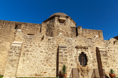 The rose window is an example of baroque architecture on the Mission San Josè church in San Antonio, Texas, USA.
