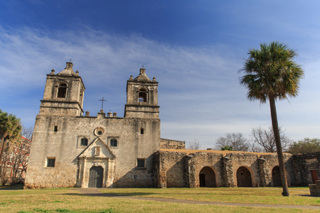 Mission Concepcion on the Mission trail, a wold heritage site, in San Antonio, TX, USA. Редакционное