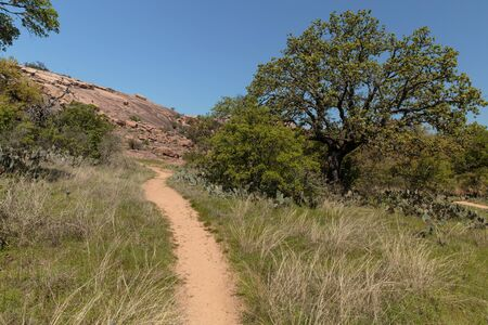 and hiking path: A hiking path in Enchanted State Park around Fredericksburg, Texas.