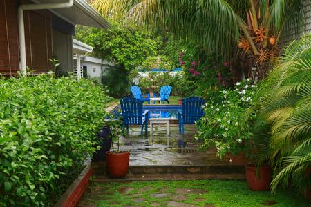 Beautiful courtyard garden in San Juan del Sur, Nicaragua.