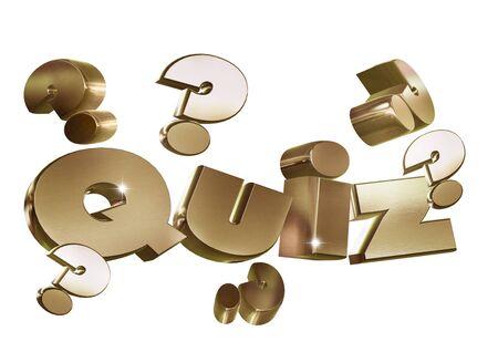 Quiz 3d gold text