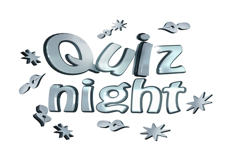 Quiz Night 3d tekst op wit Stockfoto