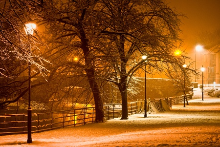 snowfall at night in kendal, cumbria Stock Photo - 19266300
