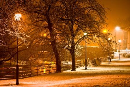snowfall at night in kendal, cumbria Stock Photo - 19266300