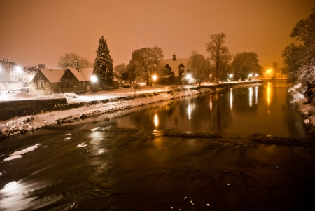 snowfall at night in kendal, cumbria Stock Photo - 19266254