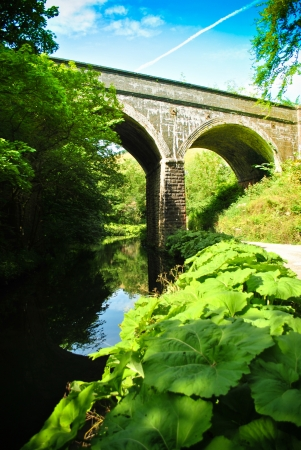 viaducts: footpath through derbyshire dales, cris-crossed with viaducts
