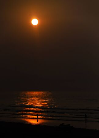 This is an image of sunset in  Mandarmani West Bengal