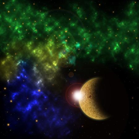 scenario: Space scenario: nebula and the planet in the front