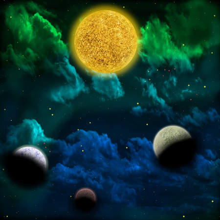 scenario: Space scenario: nebula and the star with planets in the front