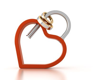 chrom: a heart shaped padlock with wedding rings Stock Photo