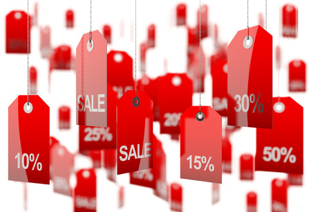 Sale concept, formed of red tags; great for shopping, sales, advertising, discounts and promotion  Stock Photo