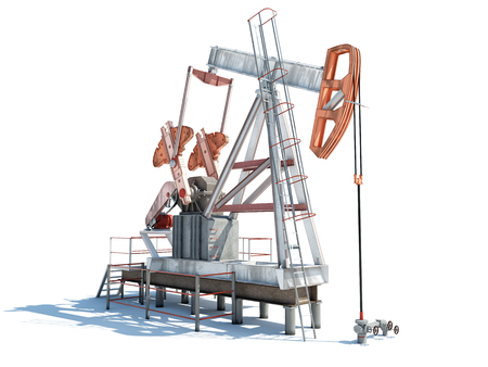 Isolated illustration of an oil rig with shadow illustration