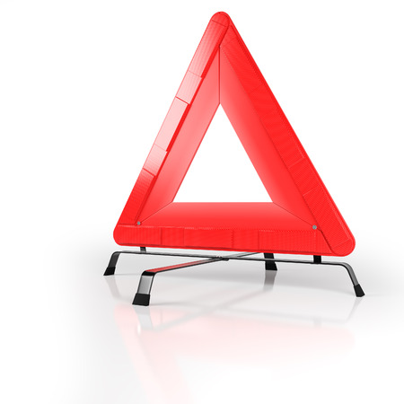 warning triangle: 3D Warning triangle isolated on white with reflective background