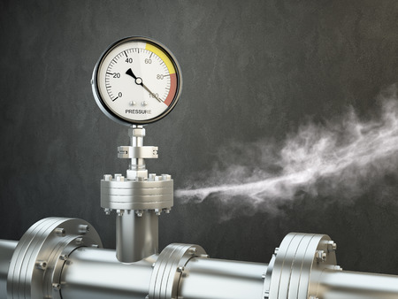 Gas or steam leaking from an industrial pressure gauge  HD 3d Render