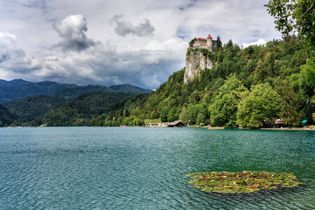 bled: View on ancient castle on top of a rock