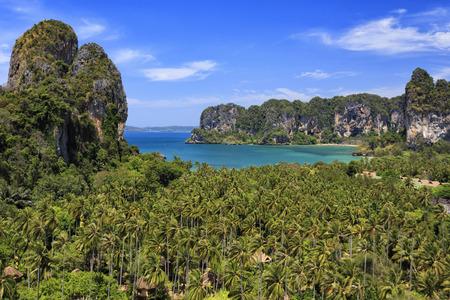 paradise bay: Beautiful view of Railay beach, Krabi, Thailand Stock Photo
