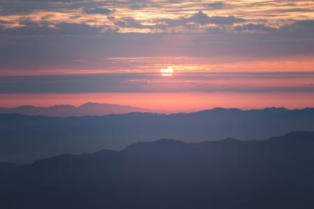 Mountain range in sunrise. Chiang Dao Stock Photo