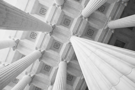 Classical architecture background. Ceiling and columns. 3D rendering.